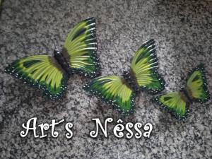 Trio borboletas verde