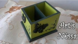 Porta controle borboletas (verde pistache e verde esmeralda) 4