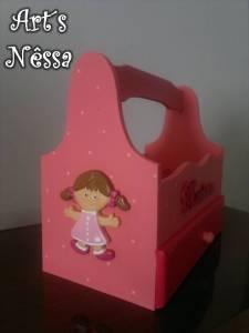 Cesta pequena manicure infantil rosa 3