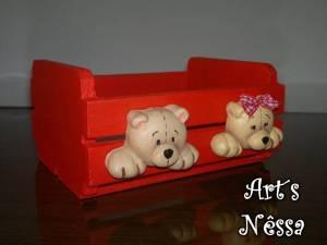 Mini caixote porta trecos vermelho ursinhos 3