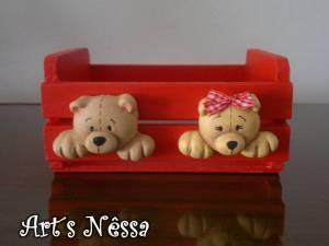 Mini caixote porta trecos vermelho ursinhos 4