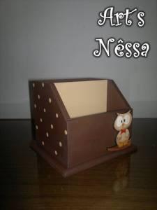 Porta lápis e bloco papéis coruja 2