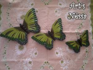 Trio de borboletas verde 2014