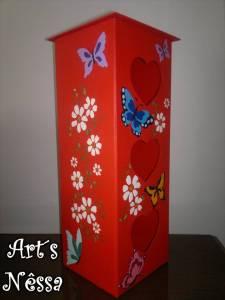 Porta papel higiênico corações vazados (vermelho) 3